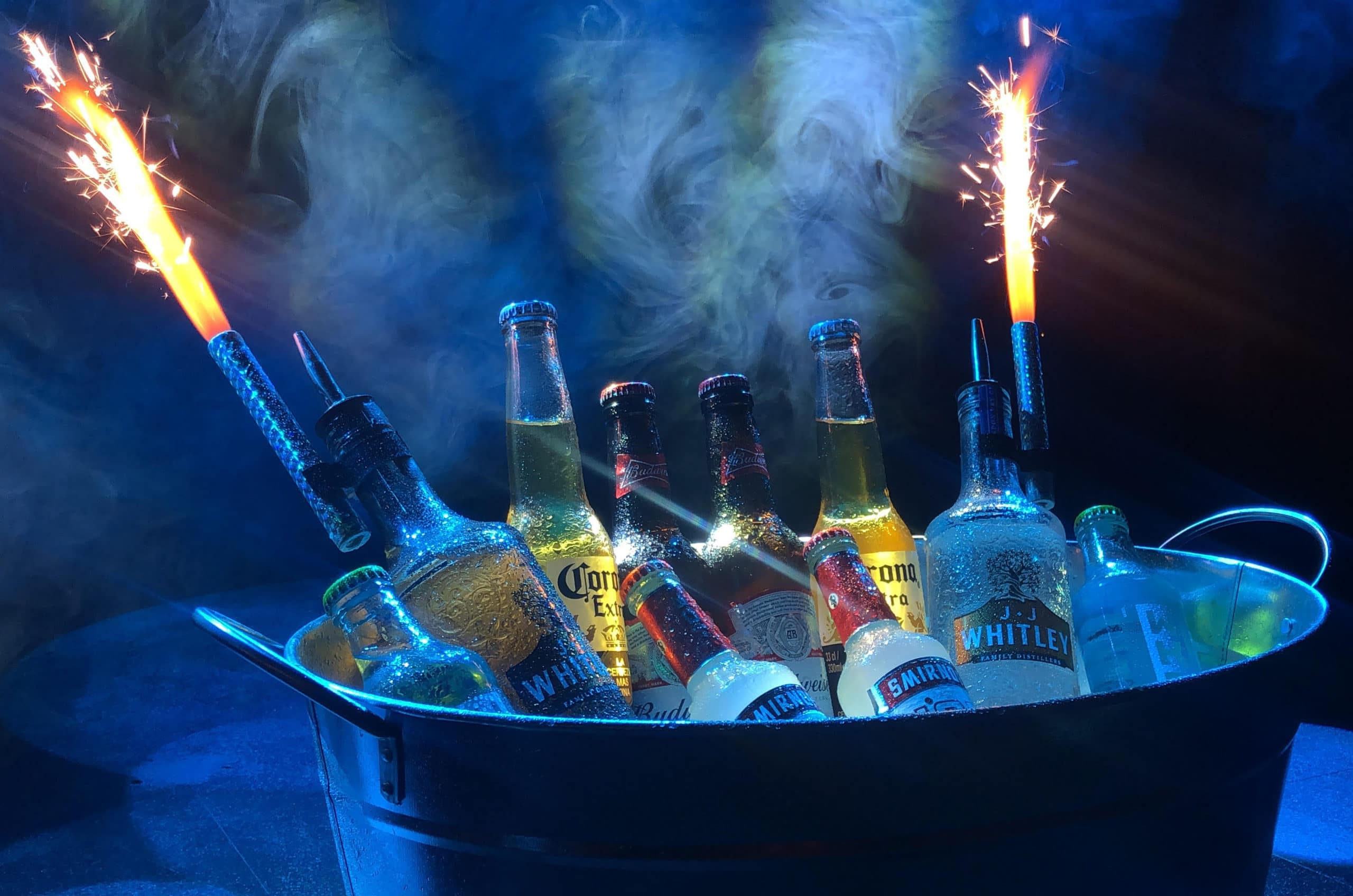 Alcohol in an Ice Bucket with Sparklers